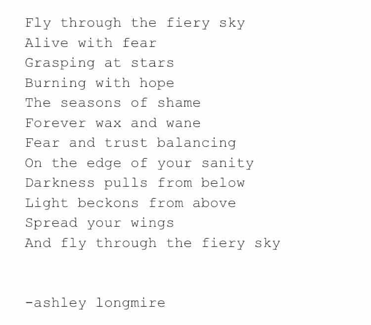 poem fly through the fiery sky